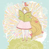 Book reading princess in pastel colors. Vector card with cute girl reading fairy book. Cartoon summe