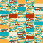Retro seamless travel pattern of trains.