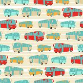 Retro seamless travel pattern of buses.