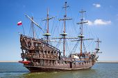 "GDYNIA, POLAND - MAY 19: ""Dragon"" - pirate ship on the water of Baltic Sea in Gdynia on 19 May 2013."