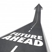 The words Future Ahead on a blacktop road with arrow leading up to illustrate new opportunities tomo
