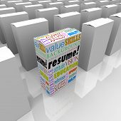 The word Resume and job or interview related terms such as skills, education, background, experience