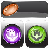 home in hands. Internet buttons. Raster illustration. Vector version is in my portfolio.