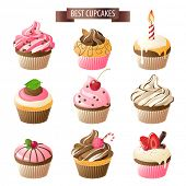 Set of 9 colorful cupcakes