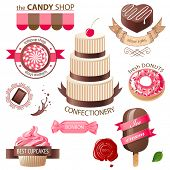 Colorful sweets and candies emblems
