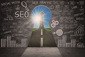 stock photo of metaphor  - Business SEO doodle on blackboard with success road through a keyhole - JPG