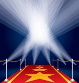raster version of my vector illustration with stars on red carpet and spotlights