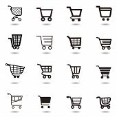 Festlegen Sie Auflistung von Vector Shopping Cart Icons