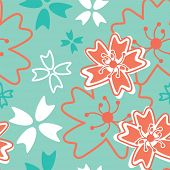 stock photo of decoupage  - Japanese Inspired Floral Seamless Vector Pattern - JPG