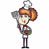 Chef de dibujos animados con cena