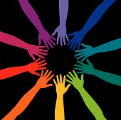 foto of peer-pressure  - A diverse circle of hands background in vector format - JPG