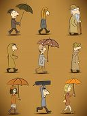 People and rainy day