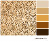 An example of the intricate wall carvings or the Nasrid Palace, Alhambra, in a colour palette with complimentary colour swatches.