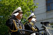 SEVASTOPOL, UKRAINE - MAY 9: Vice admirals Fedotenkov, Russia, left and Ilyin, Ukraine, review the t