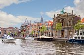 Spaarne river and embankment of Haarlem