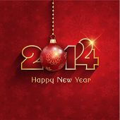 Happy New Year background with a hanging bauble