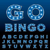 vector blue entertainment and casino letters with bulb lamps
