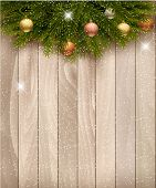 Christmas decoration on wooden background. Raster version.