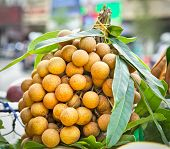 Longan fruit on the market in Saigon, Vietnam.