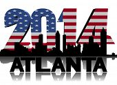 Atlanta skyline with 2014 American flag text illustration