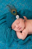 Newborn Baby Girl Wearing A Fancy Teal Hat