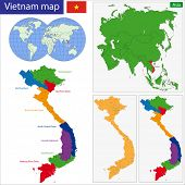 Map of Socialist Republic of Vietnam with the provinces colored in bright colors