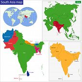 Color map of Southern Asia divided by the countries