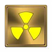 stock photo of radium  - Square metallic icon with carved design on copper background - JPG