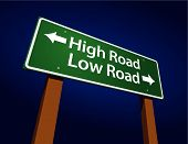 High Road, Low Road grün Road Sign illustration