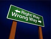 Right Way, Wrong Way Green Road Sign Illustration