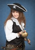 Beautiful Girl - Pirate On Blue Background