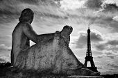 view of the Eiffel Tower in Paris, France, from Jardins du Trocadero, in black and white