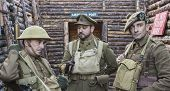 WWI British Army Officer And Soldiers