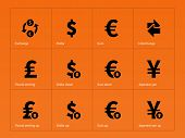 Exchange Rate icons on orange background.