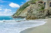 Monterosso in Cinque Terre, Italy, view at the ocean line from mountain trail
