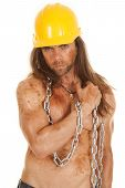 Man Hard Hat Chain Mud Arm Across Chest