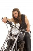 Man Leather Vest Motorcycle Look Down