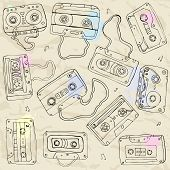 image of magnetic tape  - Set of retro cassette tapes - JPG
