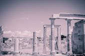 Vintage Style Photo Of The Demeter Temple, Shoot In Naxos Greece