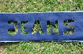 Jeans on the grass.