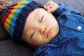 Asian baby boy take a nap