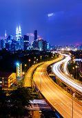 image of petronas twin towers  - Kuala Lumpur skyline at night - JPG