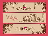 Website header or banner set design for Happy New Year 2014 and Merry Christmas with jingle bells, x