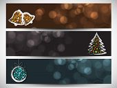 Website header or banner set design for Happy New Year 2014 celebration with shiny jingle bells, Xmas tree and Xmas ball.