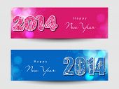 Website header or banner set design for Happy New Year 2014 celebration with stylish text on pink a