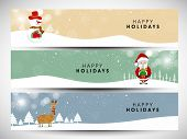 Website header or banner set design for Merry Christmas celebration with Snowman, Santa Claus and reindeer on winter background.