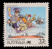 AUSTRALIA - CIRCA 1988: A stamp printed in Australia shows Living Together, celebrating postal servi
