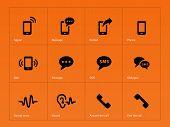 Phone icons on orange background.