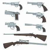 Cartoon Guns, Revolver And Rifles Set
