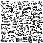 rap,hip hop symbols - doodles set